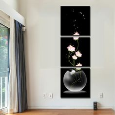 3 Pcs/Set Abstract Art Modern Wall Paintings FLowers Porch Vertical Decorative Picture Wall Art Top Home Decoration
