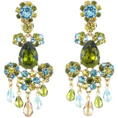 Oscar de la Renta Crystal Flower Bold Earrings (5.261.800 IDR) ❤ liked on Polyvore featuring jewelry, earrings, green chandelier earrings, long clip on earrings, long earrings, nickel free earrings and clip on earrings