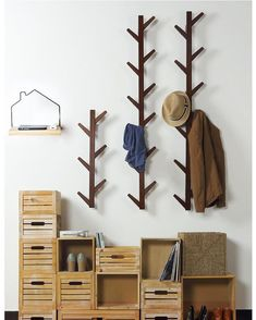 Us 2799 50 Off Nordic Style Coat Rack New 6 Hooks Wall Shelves Bamboo Wooden Hanging Rack Living Room Bedroom Decoration Wall Hanger In Coat Racks