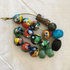 Ceramic Painted Beads Large Colorful Strand of 11 by SusanEknits