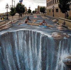 3D street art by Edgar Muller -Waterfall