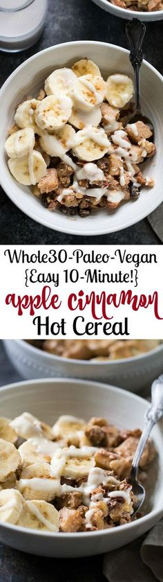 This easy Apple Cinnamon Paleo Hot Cereal is ready in just 10 minutes, free of added sugar, Paleo, and vegan. Just as delicious for an afternoon snack as it is for breakfast! Paleo Recipes Easy, Apple Recipes, Clean Eating Recipes, Whole Food Recipes, Diet Recipes, Chicken Recipes, Paleo Breakfast, Best Breakfast, Breakfast Recipes