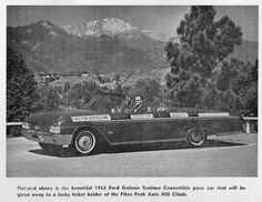 The 1962 Ford Pace Car for the Pikes Peak Hill Climb race. The car still survives !