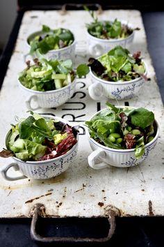 Salad in tea cups
