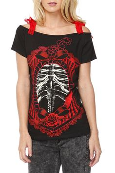 TOO FAST ANNABEL CORSET RIB CAGE GIRLS T-SHIRT