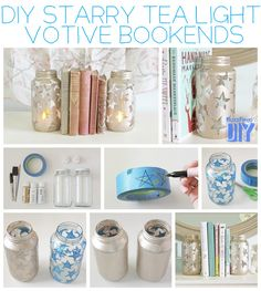 Starry Tea Light Votives | 23 Lovely DIY Bookends To Adorn Your Shelves