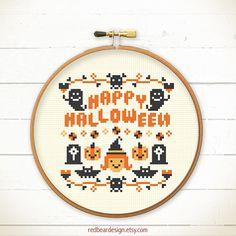 Halloween cross stitch pattern - HAPPY Halloween - Xstitch Instant download - Crazy Modern Trick or Treat Cute ghost Funny pumpkin skull