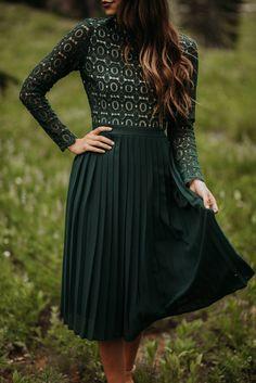 IVY CITY CO: Arabella Long-Sleeved Dress in Hunter Green  Ivy City Co  - Green Dresses - Ideas of Green Dresses #GreenDresses