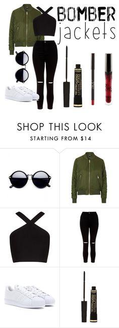 """Bomber jacket"" by sofiabentodelgado ❤ liked on Polyvore featuring Topshop, BCBGMAXAZRIA, New Look, adidas, L'Oréal Paris and bomberjackets"