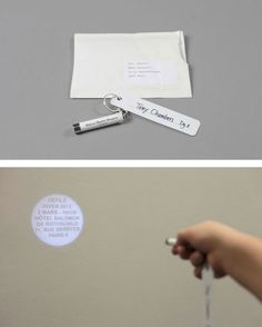 Maison Martin Margiela fashion week A/W 2012 invitation. Mini torch projects the show details.