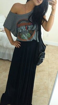 Off the shoulder graphic T can look more than casual & be chic when worn with a black maxi skirt! Love this...