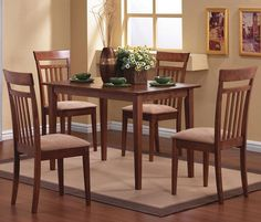 C150430set 5-Piece Wilmore Walnut Wood Dining Room Set Beige Fabric | New $599 Sale $380.25 Friends Discounted Price $285.18