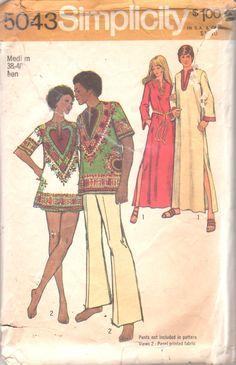 Simplicity 5043 1970s MENS Caftan Dashiki Shirt by mbchills
