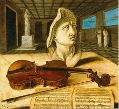 VIOLIN Y PARTITURA Giorgio de Chirico (Volos, Grecia; 10 de julio de 1888 – Roma; 20 de noviembre de 1978) pintor italiano nacido en Grecia de padres italianos. De Chirico es reconocido entre otras cosas por haber fundado el movimiento artístico scuola metafisica.