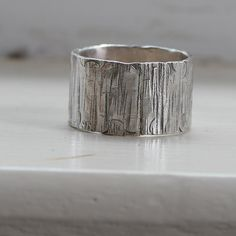 tinahdee beautiful jewelry — Mens Ring Wood Grain on Sterling Unique Wedding Ring Tree Bark
