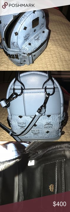 MCM x-mini Stark BeBe Boo Backpack It's it brand new condition and it had only been worn twice. I no longer have the receipt but the tag is still available along with the dust bag & the two straps it came with. This is a 100% authentic designer backpack. The blue color is no longer on the MCM website in this style. The original price is $670. MCM Bags Backpacks