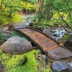 Bamboo footbridge at Portland Japanese Garden More