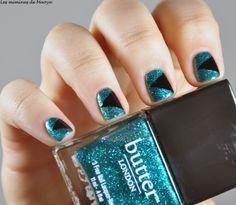 Black and green nail art with Butter London nailpolish