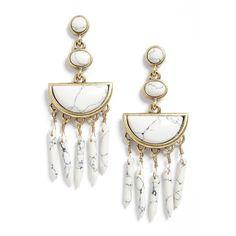 Women's Baublebar Nora Drop Earrings (105 BRL) ❤ liked on Polyvore featuring jewelry, earrings, accessories, howlite, baublebar jewelry, stone jewelry, drop earrings, stone earrings and fringe earrings