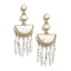 Women's Baublebar Nora Drop Earrings (1,595 DOP) ❤ liked on Polyvore featuring jewelry, earrings, accessories, howlite, fringe jewelry, stone drop earrings, stone jewelry, statement drop earrings and stone earrings