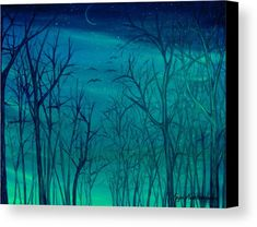 Canvas Print, painting, forest,scene,woods,landscape,nature,trees,trunks,branches,bare,winter,cold,night,nocturnal,sky,starry,forestscape,nightscape,natural,moonlight,stars,vision,tranquil,peaceful,serene,moody,nostalgic,romantic,poetic,melancholic,teal,green,blue,shades,vivid,colors,monochromatic,decor,beautiful,unique,fantasylike,cool,realism,realistic,of,in,at,a,by,the,fine,art,oil,images,artworks,decor,artistic,items,products,for sale,fine art america,winter silence