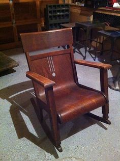 Beautiful Antique Mission Oak Rocker ~ Wisconsin Chair Co. ~ Original Tag