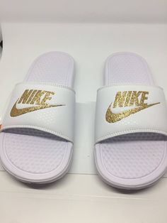 aad458093fa Custom Gold Glitter Nike Sandals. White Nike Slides
