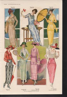 1919 Woman Pattern Fashion Blouse Skirt Dress Parasol | eBay