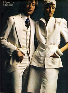 Christopher Mcdonnell.   Daily Telegraph magazine spread (May 25th, 1973) featuring British  designers (and, for a few, their partners) with their favourite models, wearing favourite pieces from that season.