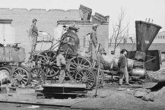 Richmond, Va. Crippled locomotive, Richmond & Petersburg Railroad depot                                                                                                                                                                                 More