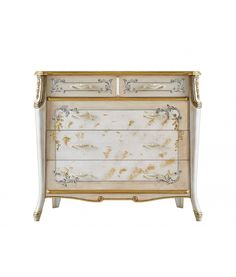 Beautiful dresser in classic style with handmade decorations. cod. 6730 5 drawer dresser in wood for classic bedroom. http://www.italian-style.co.uk/wp/product/6730-dresser-beautiful-line/