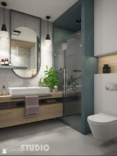 łazienka w szarościach-drewniany blat - zdjęcie od MIKOŁAJSKAstudio