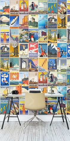 Looking for the ultimate travel inspo? This retro wallpaper design is both quirky and fun, encompassing some of the most stylish vintage travel posters out there. Bring some fun back into your walls with this unique wallpaper mural. Wallpaper Wall, Unique Wallpaper, Travel Wallpaper, Retro Wallpaper, Wallpaper Quotes, Quirky Home Decor, Vintage Home Decor, Party Vintage, Décor Antique