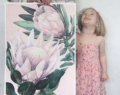 King Proteas on Pink Background — Ampersand Mother Watercolor Art Diy, Watercolor Art Paintings, Floral Watercolor, Original Paintings, Watercolour, Flower Paintings, Acrylic Paintings, Protea Art, Frida And Diego