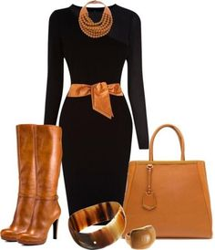 black and tan Casual Dresses, Casual Outfits, Fashion Outfits, Fashion Trends, Fashion Styles, Classic Work Outfits, Office Outfits, Office Wear, Edgy Work Outfits