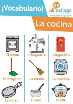 Here is what you can find in a kitchen :) #LearnSpanish #SpanishSchool #SpanishVocab