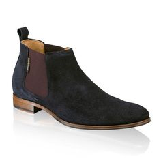 Mens Russell & Bromley Boots - PAUL! ( Blue suede & burgundy elastic ) Chelsea boots with a contemporary twist. Two tone beetle boot