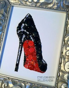 8x10 Christian Louboutin Button Art & Swarovski Rhinestones by BellePapiers. #christianlouboutin #redbottoms #stiletto #rhinestones #buttons #buttonart #fashion #designershoes #pumps #blackshoes #art #swarovski