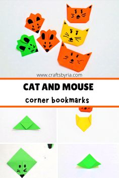 Fun DIY bookmark crafts for back to school. This cat and mouse corner bookmarks are perfect to learn the origami basics and fun to do with preschoolers, kindergarteners and school age kids. #craftsbyria Paper Crafts For Kids, Diy For Kids, Easy Crafts, Corner Bookmarks, Bookmarks Kids, Kindergarten Activities, Activities For Kids, Preschool, Bookmark Craft