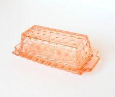 Seasoned Pink Depression Glass Butter Dish Geometric Pattern Cubist ...