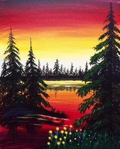 Peaceful Reflection at Hudsons Canadian Tap House (South Edmonton) - Paint Nite Events