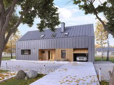 Malutki dr-S projekt domu - DOMY w Stylu , Barn House Conversion, Barn Conversions, Modern Barn House, House Cladding, Shed Homes, Cabin Homes, Log Homes, Tiny House Cabin, Modern Farmhouse Exterior