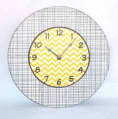 Unique Wall Clock 10 Inch Wall Clock Yellow by makingtimetc, $45.00