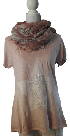 Impressionen T-Shirt kurzarm rosa Batik Shirt Stern Skull Totenkopf Nieten 38-42
