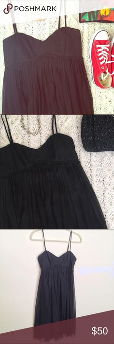 """Laundry By Design Black Cocktail Dress size 6 Detailed heart neckline and 100% silk three-tier sheer overlay makes this the perfect LBD for a cocktail party, a prom, a first date or a summer concert. I wore it only once to a summer wedding. Adjustable straps, size 6, about 29"""" from the shoulder. Laundry by Design Dresses"""