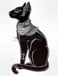 dibujado mano Vintage gato egipcio - símbolo de la diosa Bastet. aislado ilustración vectorial. objetos mágicos religiosos lineales en estilo. Tatuaje y plantilla de contorno de impresión. Foto de archivo - 57527824