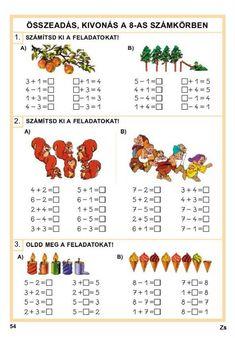 Albumarchívum Kindergarten Math Worksheets, Preschool Activities, Math School, Montessori Toddler, Math For Kids, Kids Learning, Christmas Cards, Education, Cross Stitch Letters