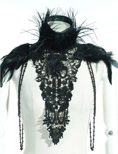 Goth Gothic Victorian Feathers & Lace Collar Choker Necklace - Other