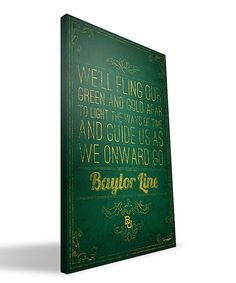 Look what I found on #zulily! Baylor Bears Alma Mater Wall Art by Paulson Designs #zulilyfinds