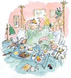 Breakfast in Bed ~ Quentin Blake Illustration